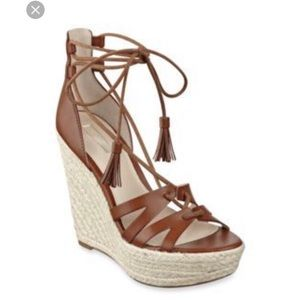 Guess Ollina Brown Lace-Up Espadrille Wedges